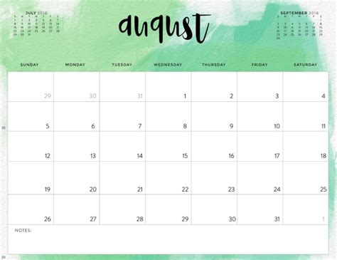august  monthly calendar editable calendar