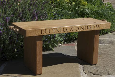 engraved bench personalised solid oak bench by the oak rope company