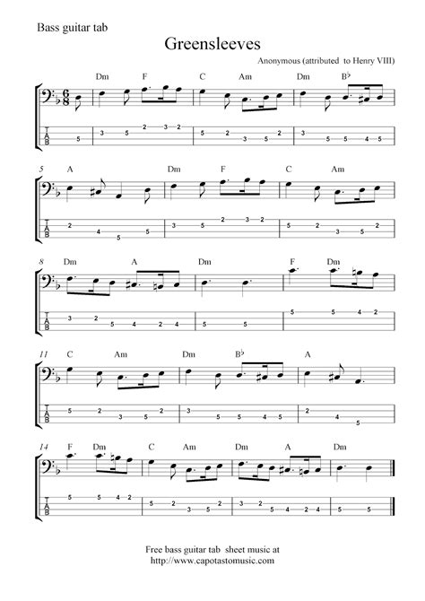 printable sheet music guitar free bass guitar tab sheet music greensleeves
