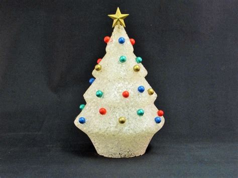 vintage soft popcorn plastic christmas tree gold star