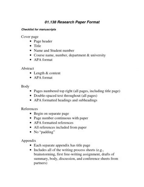 apa high school college research paper format sles