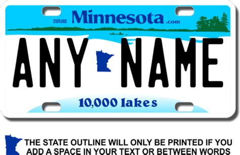 License Plate Lookup Mn Personalized Minnesota License Plate For Bicycles Kid S Bikes Carts Cars Or Trucks