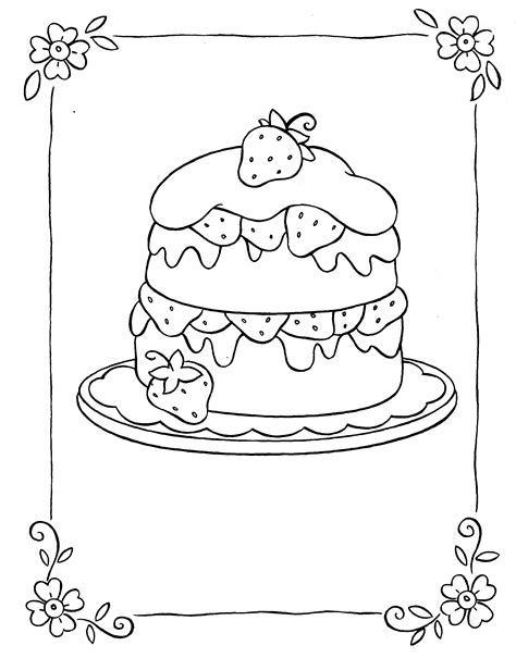 Strawberry Cake Coloring Pages strawberry coloring pages coloring pages to print
