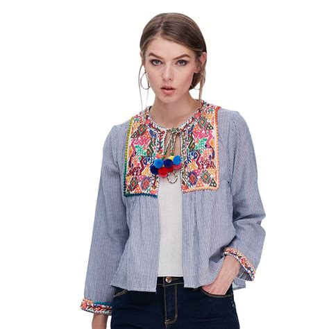 43038 Blue Stripe Flowers Blouse 1 vintage floral embroidery sleeve blue striped cotton linen ethnic blouse top