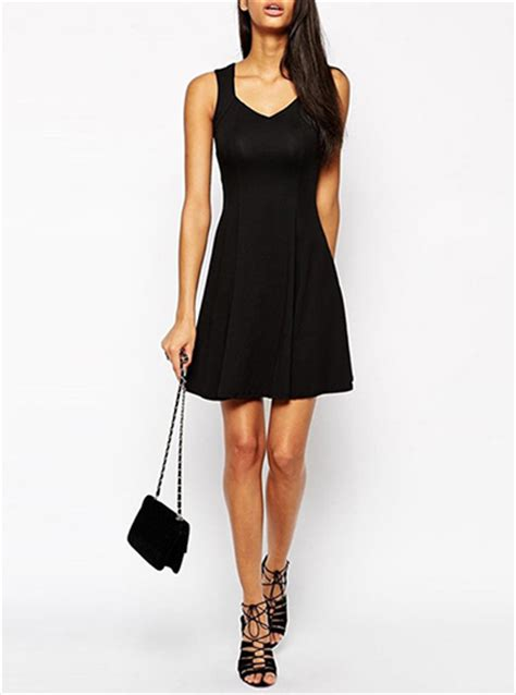 mini swing dress women s mini swing dress sweetheart neckline black