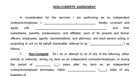 non compete clause template non compete agreement easy paralegal services
