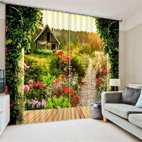 pretty cottage picture curtain set  nature theme