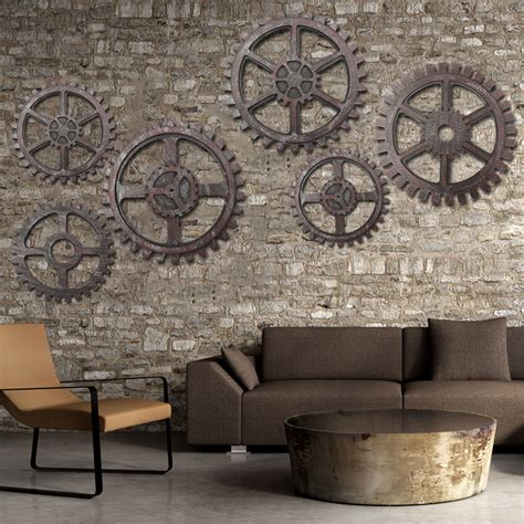 wall decor for home bar wooden gear wall art industrial antique vintage chic
