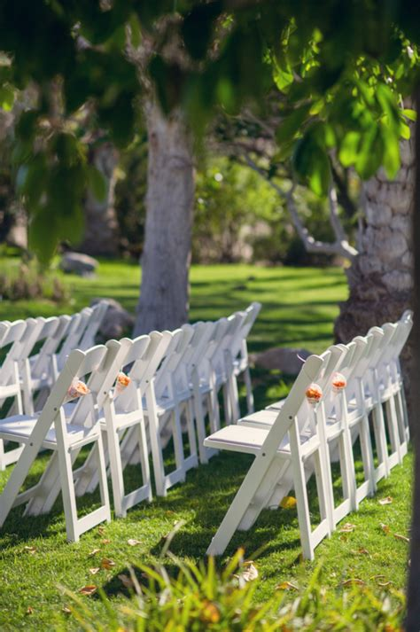 chairs garden wedding white folding chairs at outdoor wedding ceremony