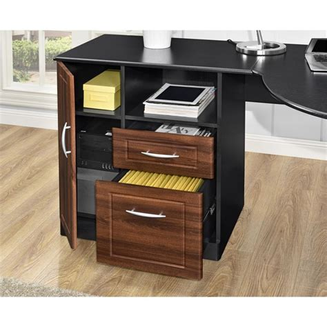 corner desk cherry corner desk in cherry and black 9306296com