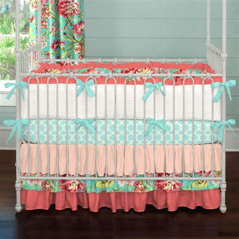 Coral And Teal Floral 3 Piece Crib Bedding Set Carousel Coral And Teal Crib Bedding