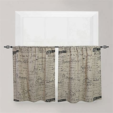 cafe curtains bed bath and beyond park b smith script caf 233 window curtain tier pair bed