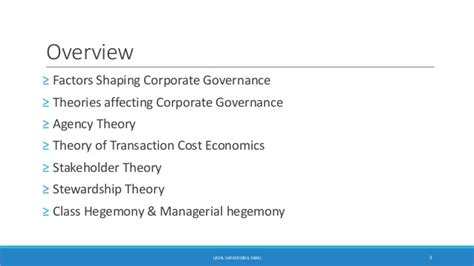Mba Corporate Governance Notes by Development Of Corporate Governance