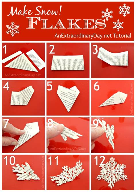 How To Make Paper Snowflake Chains - book page decorating snowflake cutting tutorial an