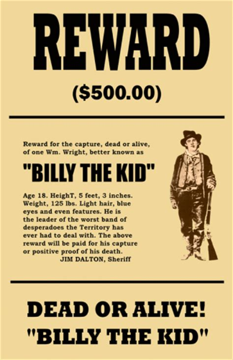 Billy The Kid Wanted Mini Poster West Poster Template