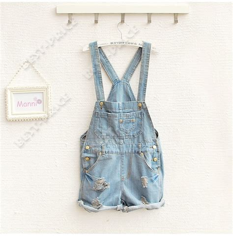 Wool Duvet Womens Girls Washed Casual Hole Jeans Denim Jumpsuit