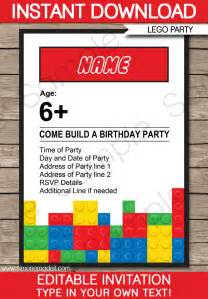 Lego party invitations birthday party editable diy theme template