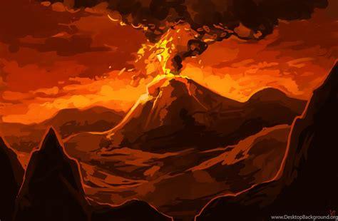 volcano background realistic volcano drawing wallpaper desktop background