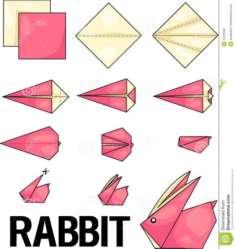 Easy Origamis - origami rabbit stock vector illustration of blue