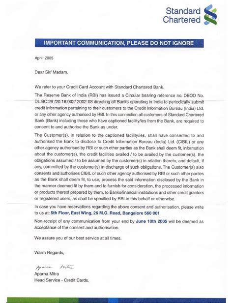 Standard Chartered Credit Letter Saara Aakash May 2005