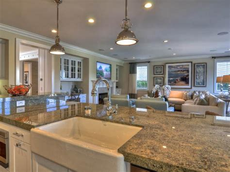 large marble island  transitional great room hgtv
