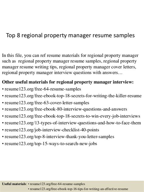 regional property manager resume exle top 8 regional property manager resume sles