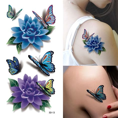 tattoo flower mural 1 pcs 3d colorful waterproof body art sleeve diy stickers