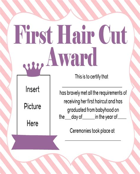 free girls first haircut award printable for pdf
