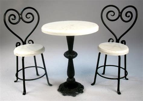 Wrought Iron Bistro Table And Chairs Impressive White Bistro Table And 2 Chairs J Getzan Dollhouse Miniatures Wrought Iron