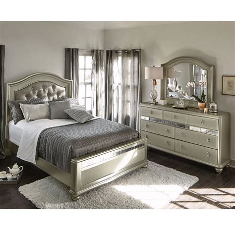 signature bedroom furniture serena king 5 piece bedroom set platinum american