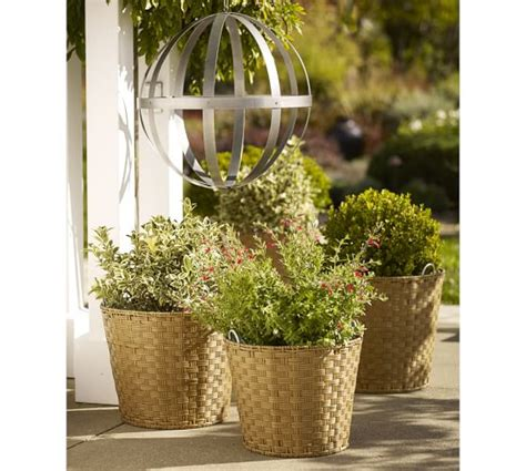 glenwillow all weather wicker planters pottery barn
