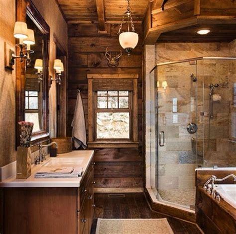 cabin themed bathroom inside the cabin