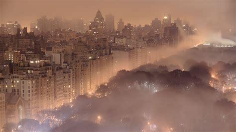 foggy manhattan evening wallpaper