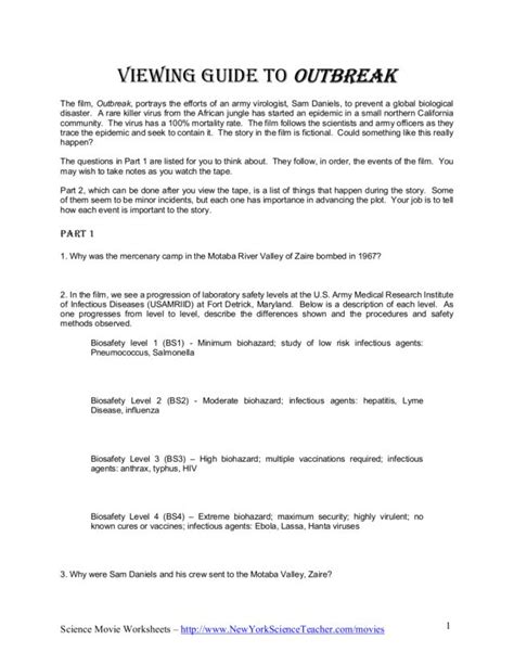 Contagion Worksheet Answers by Outbreak Worksheet Worksheets For School Dropwin