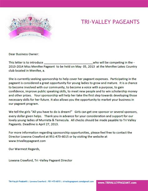 Letter Pageant Sponsorship Letter Exles For Pageants Images