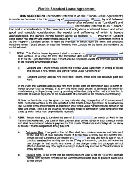 apartment lease template apartment lease agreement template business