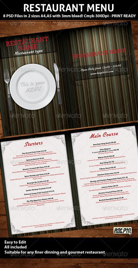 elegant restaurant menu psd template by hotpin graphicriver