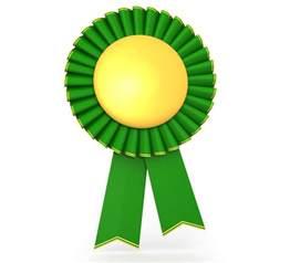 3d green yellow batch ribbon of success stock photo