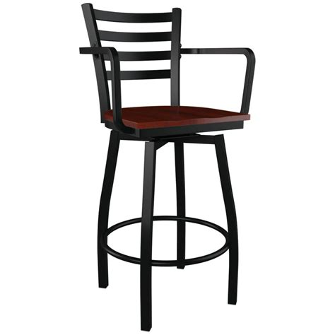 Metal Bar Stools With Backs And Arms | swivel ladder back metal bar stool with arms