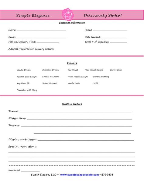 Cake Order Form Templates Free Cupcakes Pinterest Order Form Cake And Bakeries Baking Invoice Template