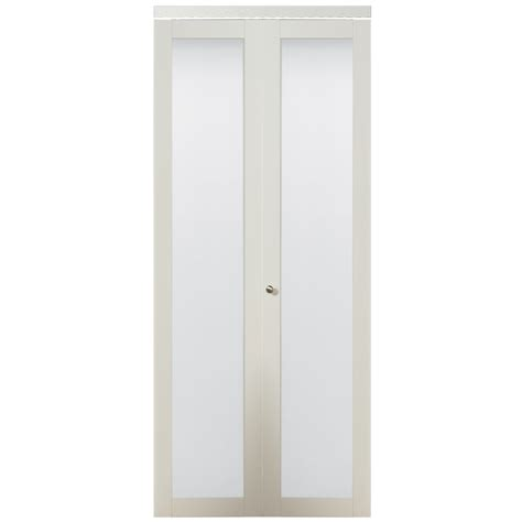 Glass Bifold Closet Doors Shop Kingstar White 1 Lite Solid Tempered Frosted Glass Bifold Closet Door Common 30 In X