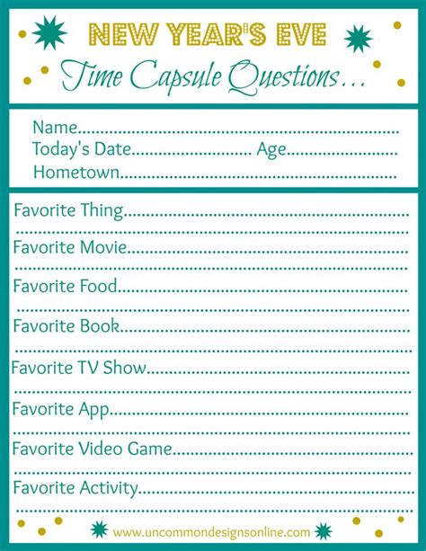 questions about new year new year s time capsule printable time capsule new