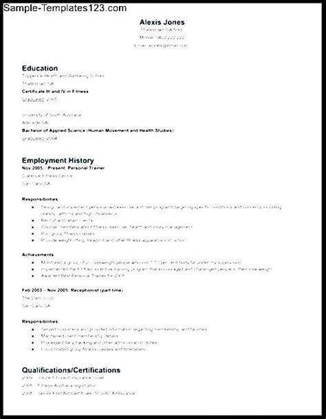 Personal Trainer Resume   Resume Format Download Pdf