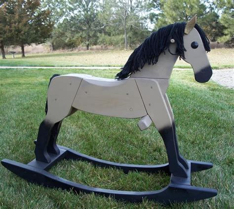 beautiful handmade wooden rocking horse   info