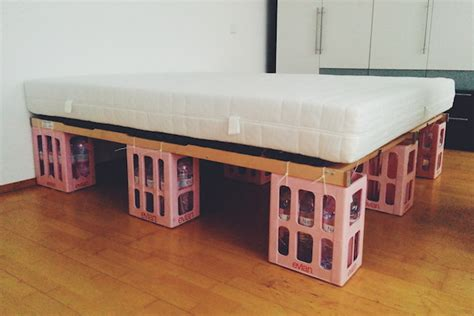 temporary bed diy bottle crate bed frame