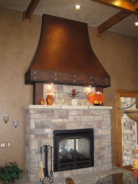 faux aged copper fireplace traditional kitchen