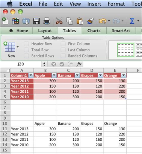 use excel content as tables in powerpoint 2011 for mac