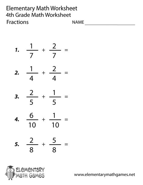 printable math worksheets for 4th grade fourth grade adding fractions worksheet printable kelpies