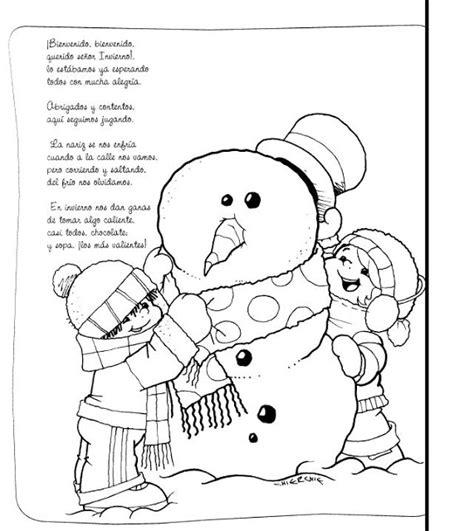 imagenes de invierno infantiles para colorear poemas de invierno con dibujos para pintar