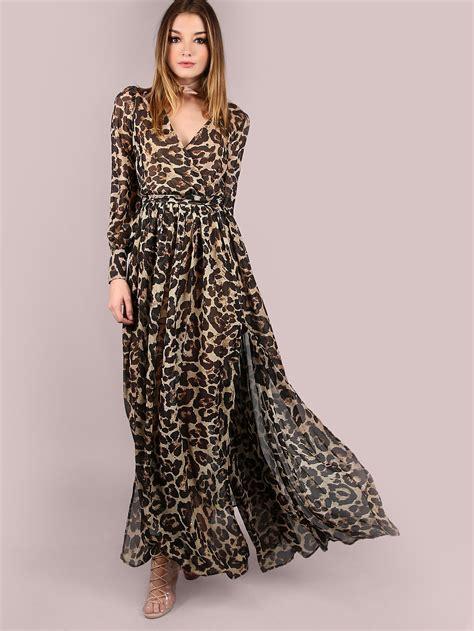Maxi Dress Leopard leopard print surplice neckline chiffon dress shein